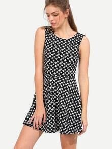 Black White Sleeveless Print U Back Dress