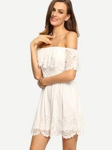 Beige Off The Shoulder Ruffle Hollow Dress