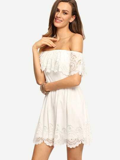Beige Off The Shoulder Ruffle Hollow Dress