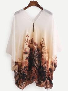 V Neck Flower Print Chiffon Shirt With Buttons
