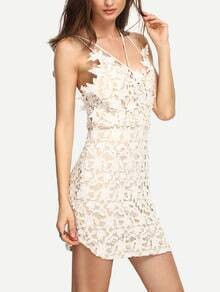 Spaghetti Strap Lace Crochet Bodycon Dress