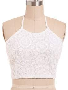 White Halter Crochet Crop Top