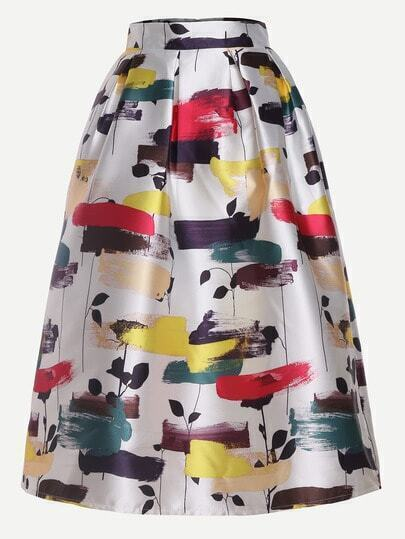 Leaves Print Flare Skirt