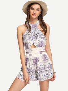 Halter Cut Out Print Top With Shorts