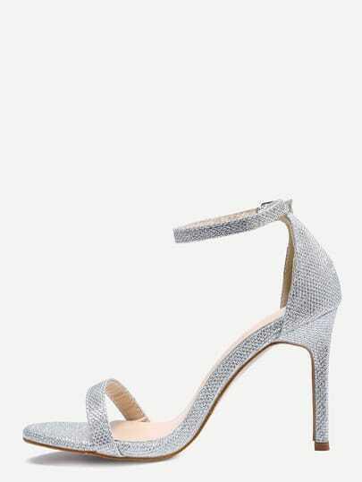 Glittered Ankle Strap Stiletto Sandals Silver