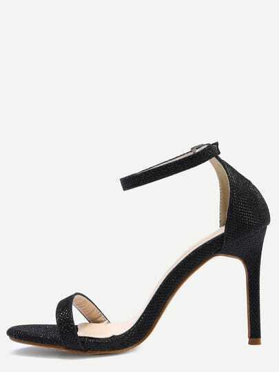 Glittered Ankle Strap Stiletto Sandals - Black