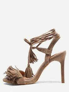 Apricot Faux Suede Fringed Strappy Sandals