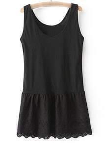 Black Round Neck Lace Hem Tank Dress