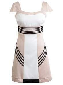 Multicolor Cap Sleeve Zipper Back High Waist Dress