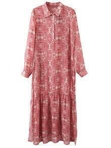 Multicolor Long Sleeve Split Side Print Maxi Dress