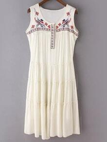 White Sleeveless National Embroidery Cotton Hemp Dress