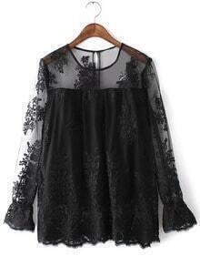 Black Long Sleeve Keyhole Back Embroidery Lace Blouse