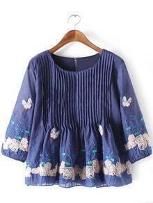 Blue Pleated Butterfly Embroidery Organza Blouse