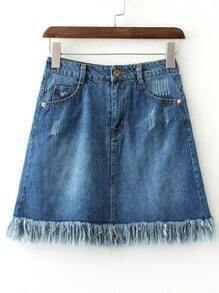Blue Pockets Scratch Fringe Hem Denim Skirt