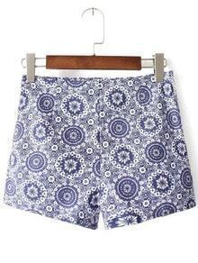 Blue And White Porcelain Print Zipper Side Shorts