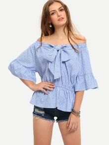 Blue Off The Shoulder Bow Half Sleeve Blouse