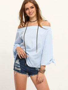 Blue Off The Shoulder Tie-cuff Sleeve Blouse