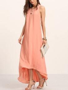 Pink Princess Seam Dip Hem Knotted Back Dress