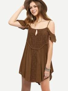 Coffee Ruffle Cold Shoulder Shift Dress