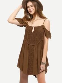 Coffee Ruffle Cold Shoulder Shift Dress