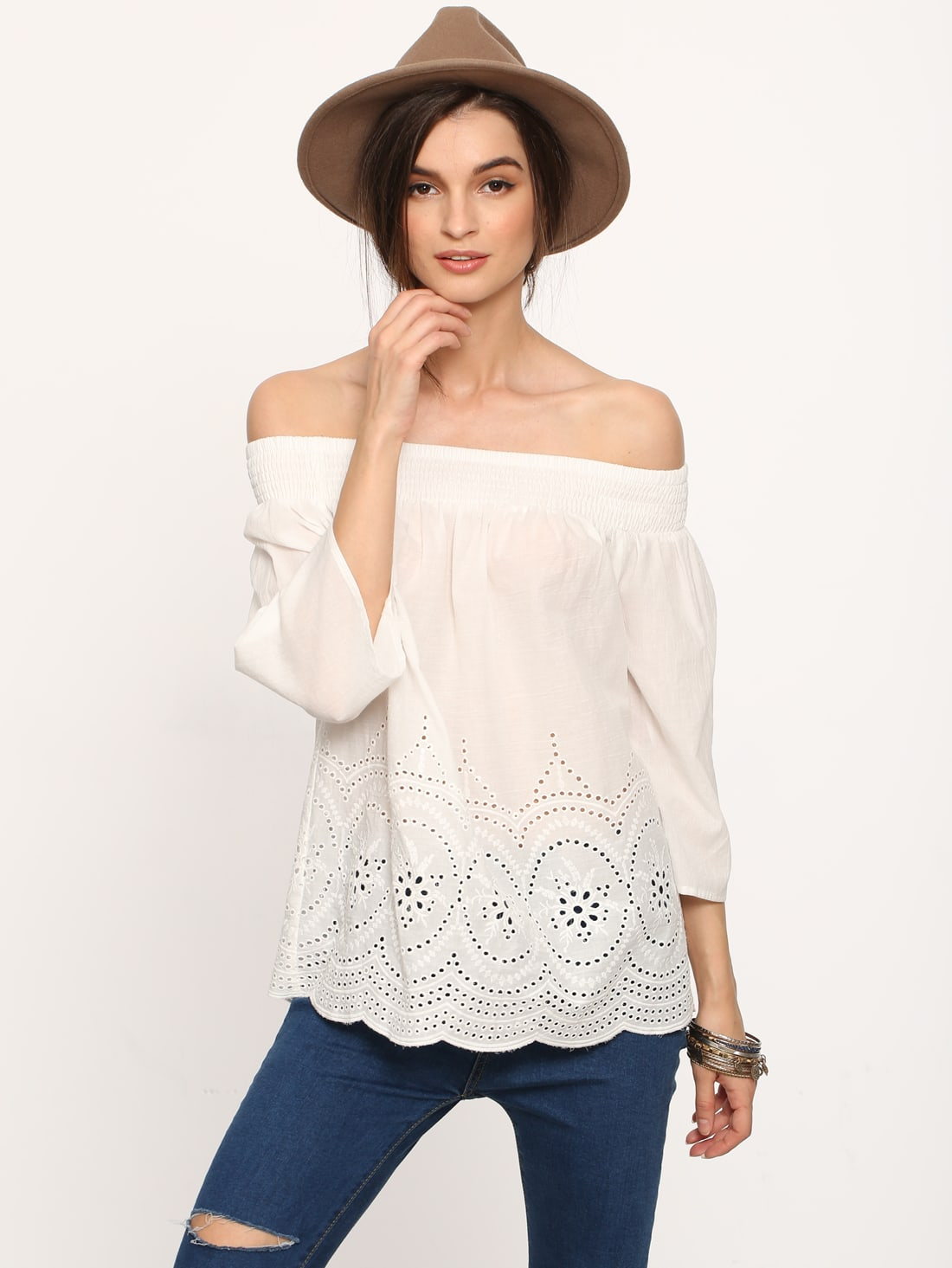 White Off The Shoulder Embroidery Blouse