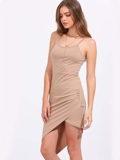 Light Khaki Asymmetric Hem Bodycon Slip Dress