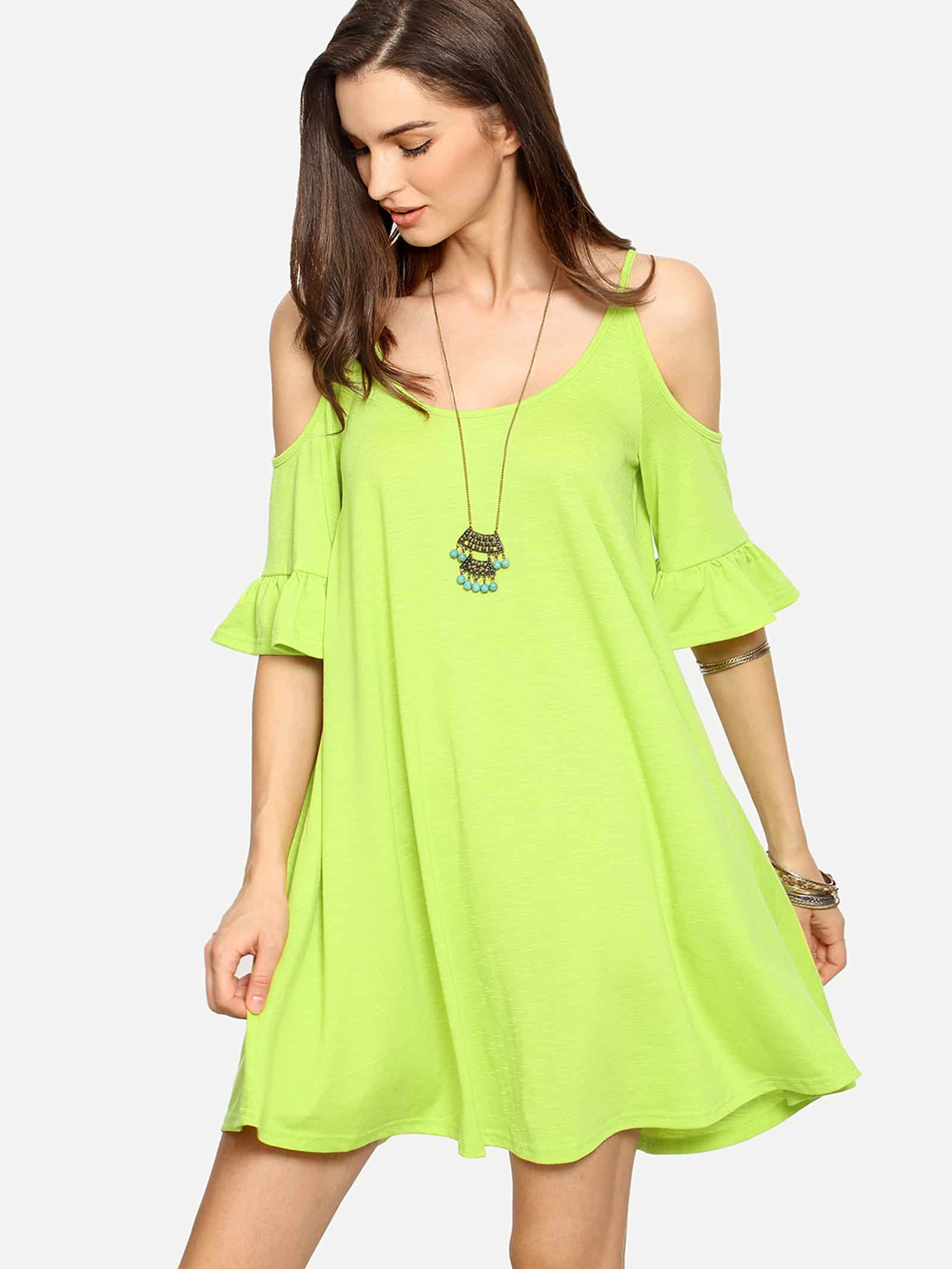 Cold Shoulder Ruffle Cuff Shift Dress print cold shoulder shift dress