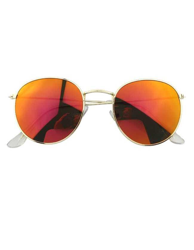 Orange Round Oversized Sunglasses