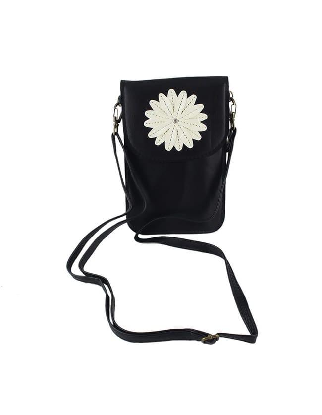 Black Cute Flower PU Card Bag