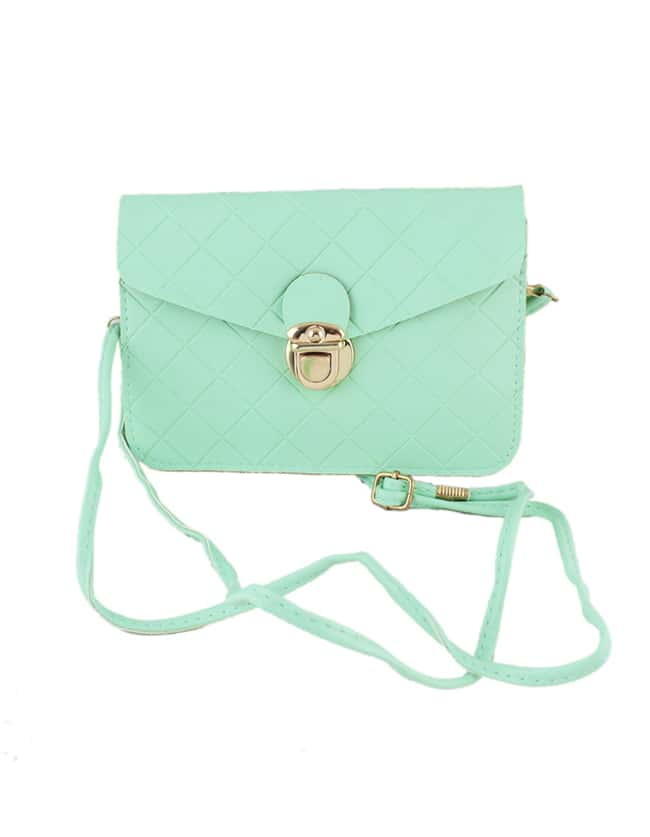 Green Candy Color Pu Leather Handbags