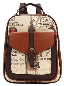 Color Block Vintage Print Structured Backpack
