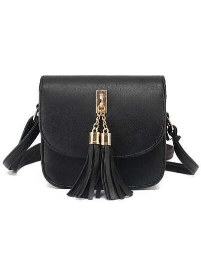 Black Tassel Embellished Flap Bag