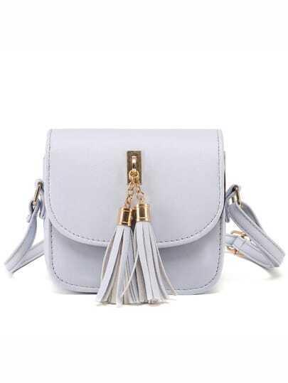 Grey Tassel Embellished Flap Bag