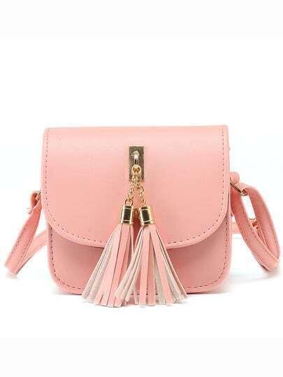 Pink Tassel Embellished Flap Bag