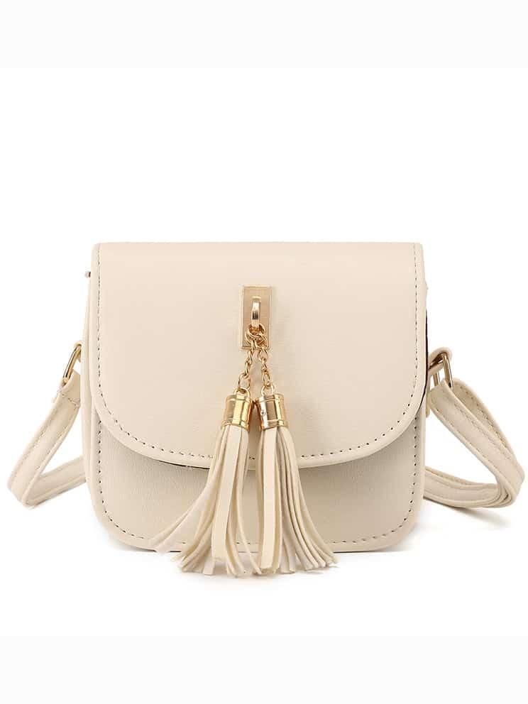 Beige Tassel Embellished Flap Bag