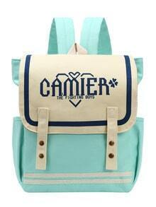 Mint Green Letter Print Canvas Flap Backpack