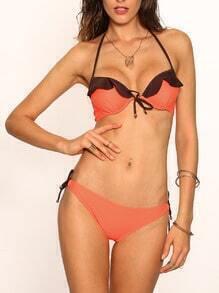 Contrast Ruffle Orange Bikini Set
