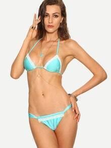Lace Timmed Sky Blue Triangle Bikini Set