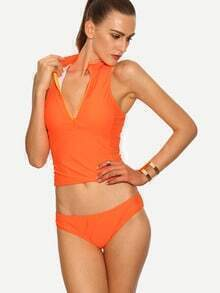 Fluorescent Orange Zip Front Sleeveless Rash Guard Swimwear
