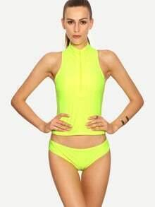 Fluorescent Yellow Zip Front Sleeveless Rash Guard Swimwear