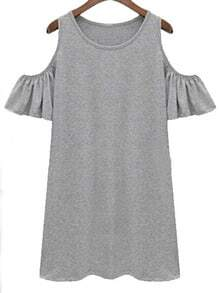 Grey Cutout Shoulder Ruffle Sleeve Dress