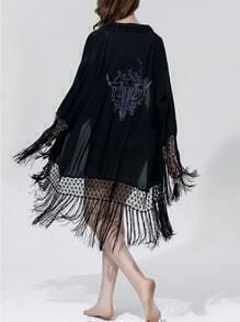 Black Macrame Fringe Trimmed Printed Blouse