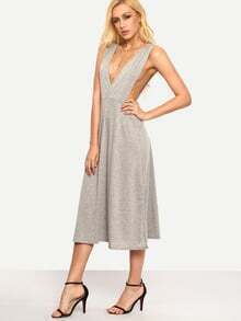 Grey Deep V Neck Split Side Dress