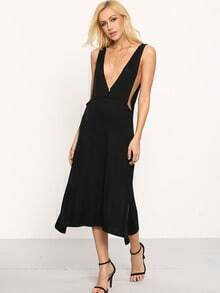 Black Deep V Neck Split Side Dress