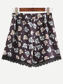 Elastic Waist Cat Print Lace Hem Shorts