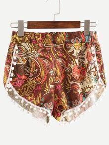 Elastic Waist Paisley Print Pom Pom Shorts