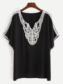 Black Contrast V Neck T-shirt