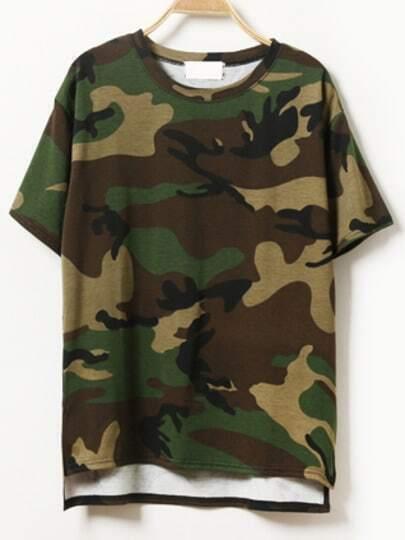 Camo Dip Hem T-shirt