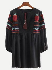Black Lace Up Embroidered Shirt