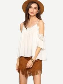 White Cold Shoulder Chiffon Shirt